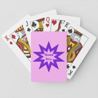 Guns Kill Pink and Purple Playing Cards
