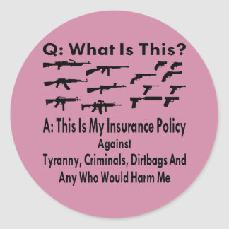 Guns My Insurance Policy For Tyranny & Criminals Round Sticker