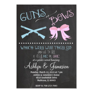 Guns or Bows Gender Reveal Party Invitation
