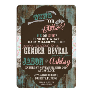 "Guns or Glitter Gender Reveal 5"" X 7"" Invitation Card"