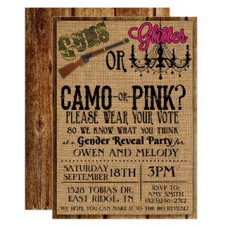 Guns or Glitter Gender Reveal Invitation - 5 x 7