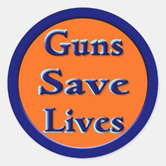 Guns Save Lives Round Sticker