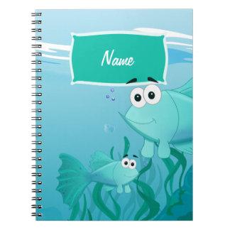 Guppy fish illustration spiral note book