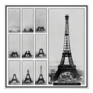 Gustav Eiffel's Tower Under Construction in Paris Poster
