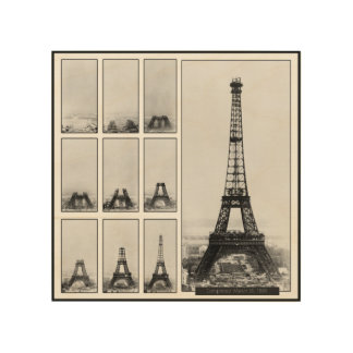 Gustav Eiffel's Tower Under Construction Wood Print