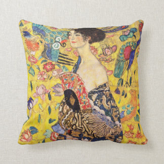 Gustav Klimt and Woman with fan Throw Pillow
