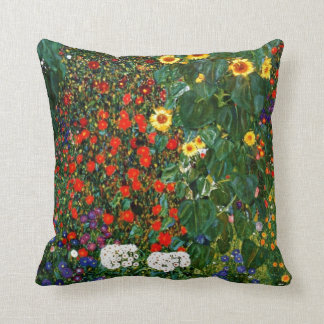 Gustav Klimt art - Farm Garden with Sunflowers Throw Pillow