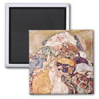 Gustav Klimt ~ Baby Square Magnet