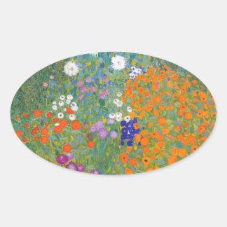 Gustav Klimt // Bauerngarten // Farm Garden Oval Stickers
