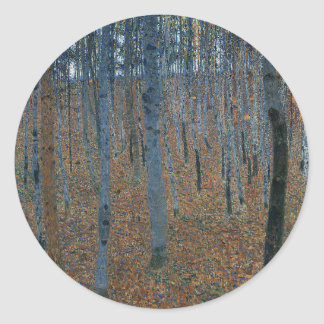 Gustav Klimt - Beech Grove. Trees Nature Wildlife Classic Round Sticker