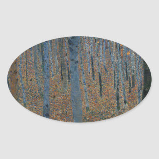 Gustav Klimt - Beech Grove. Trees Nature Wildlife Oval Sticker
