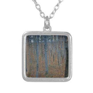 Gustav Klimt - Beech Grove. Trees Nature Wildlife Silver Plated Necklace