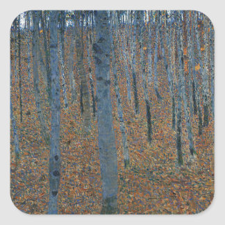 Gustav Klimt - Beech Grove. Trees Nature Wildlife Square Sticker