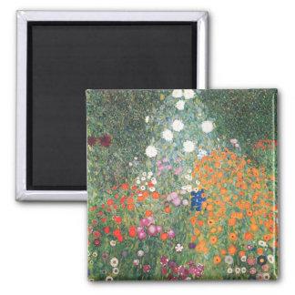 Gustav Klimt Blumengarten Square Magnet