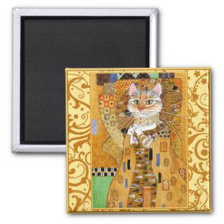 Gustav Klimt Cat in Gold spoof magnet