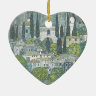Gustav Klimt - Church in Cassone Art work Ceramic Ornament