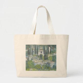 Gustav Klimt - Church in Cassone Art work Large Tote Bag