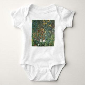 Gustav Klimt - Country Garden Sunflowers Flowers Baby Bodysuit