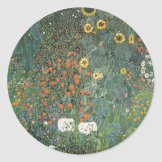 Gustav Klimt - Country Garden Sunflowers Flowers Classic Round Sticker