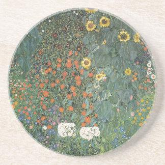 Gustav Klimt - Country Garden Sunflowers Flowers Coaster