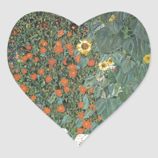 Gustav Klimt - Country Garden Sunflowers Flowers Heart Sticker