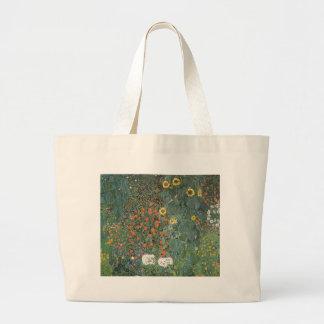 Gustav Klimt - Country Garden Sunflowers Flowers Large Tote Bag