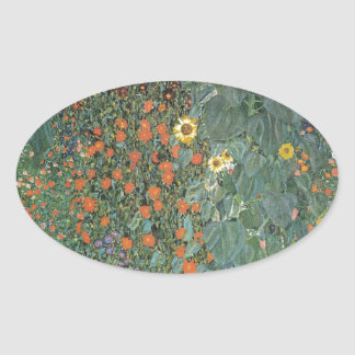 Gustav Klimt - Country Garden Sunflowers Flowers Oval Sticker