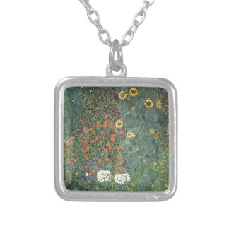 Gustav Klimt - Country Garden Sunflowers Flowers Silver Plated Necklace
