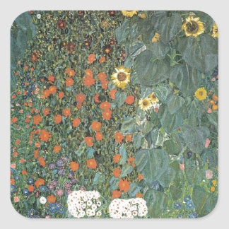 Gustav Klimt - Country Garden Sunflowers Flowers Square Sticker