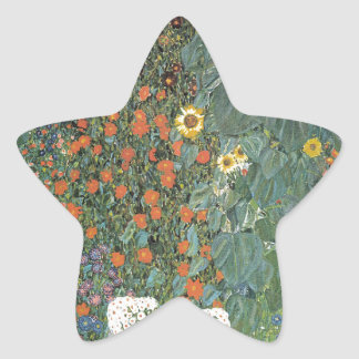 Gustav Klimt - Country Garden Sunflowers Flowers Star Sticker