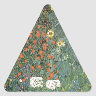 Gustav Klimt - Country Garden Sunflowers Flowers Triangle Sticker