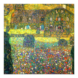 "Gustav Klimt: Country House at the Attersee 5.25"" Square Invitation Card"