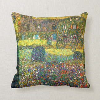 Gustav Klimt: Country House at the Attersee Throw Pillow