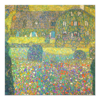 "Gustav Klimt Country House by the Attersee 5.25"" Square Invitation Card"