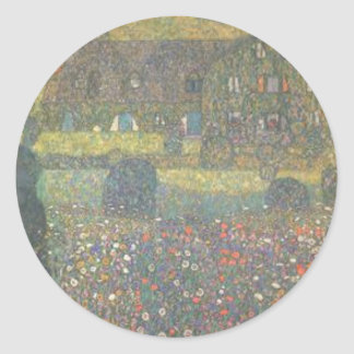 Gustav Klimt - Country House by the Attersee Art Classic Round Sticker
