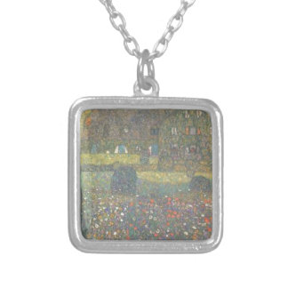 Gustav Klimt - Country House by the Attersee Art Silver Plated Necklace