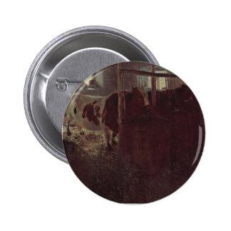 Gustav Klimt- Cows in the barn Button