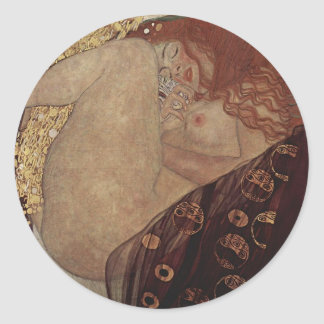 Gustav Klimt  - Danae - Beautiful Artwork Classic Round Sticker