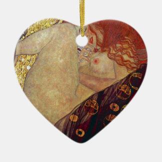 """Gustav Klimt, """"Danae"""" Ceramic Heart Ornament"""