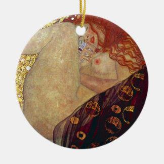"Gustav Klimt, ""Danae"" Round Ceramic Ornament"