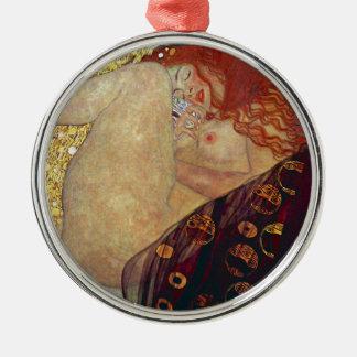 """Gustav Klimt, """"Danae"""" Silver-Colored Round Ornament"""