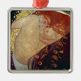 """Gustav Klimt, """"Danae"""" Silver-Colored Square Ornament"""