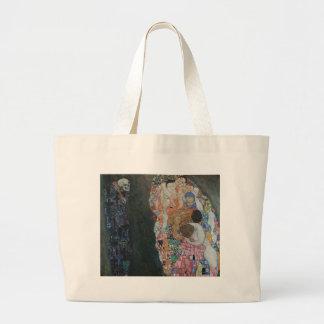 Gustav Klimt - Death and Life Art Work Large Tote Bag