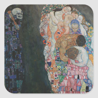 Gustav Klimt - Death and Life Art Work Square Sticker