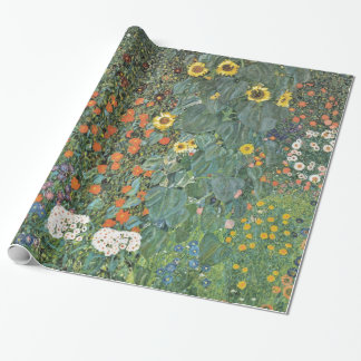 Gustav Klimt Farm Garden with Sunflowers GalleryHD Wrapping Paper