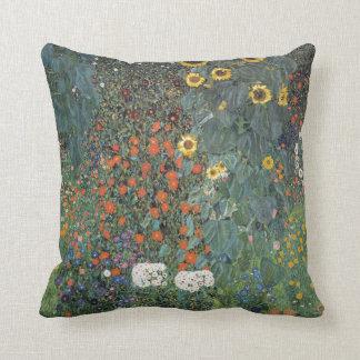 Gustav Klimt Farm Garden with Sunflowers Throw Pillow