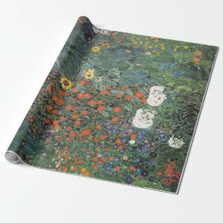 Gustav Klimt Farm Garden with Sunflowers Wrapping Paper