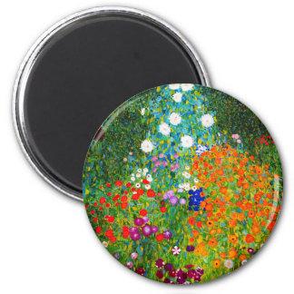 """Gustav Klimt, """"Farmhouse garden"""" 2 Inch Round Magnet"""