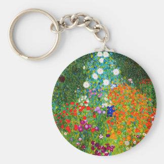 """Gustav Klimt, """"Farmhouse garden"""" Basic Round Button Keychain"""