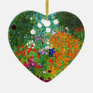 "Gustav Klimt, ""Farmhouse garden"" Ceramic Heart Ornament"